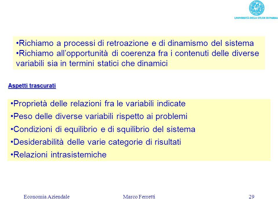 Economia AziendaleMarco Ferretti29 Proprietà delle relazioni fra le variabili indicate Peso delle diverse variabili rispetto ai problemi Condizioni di