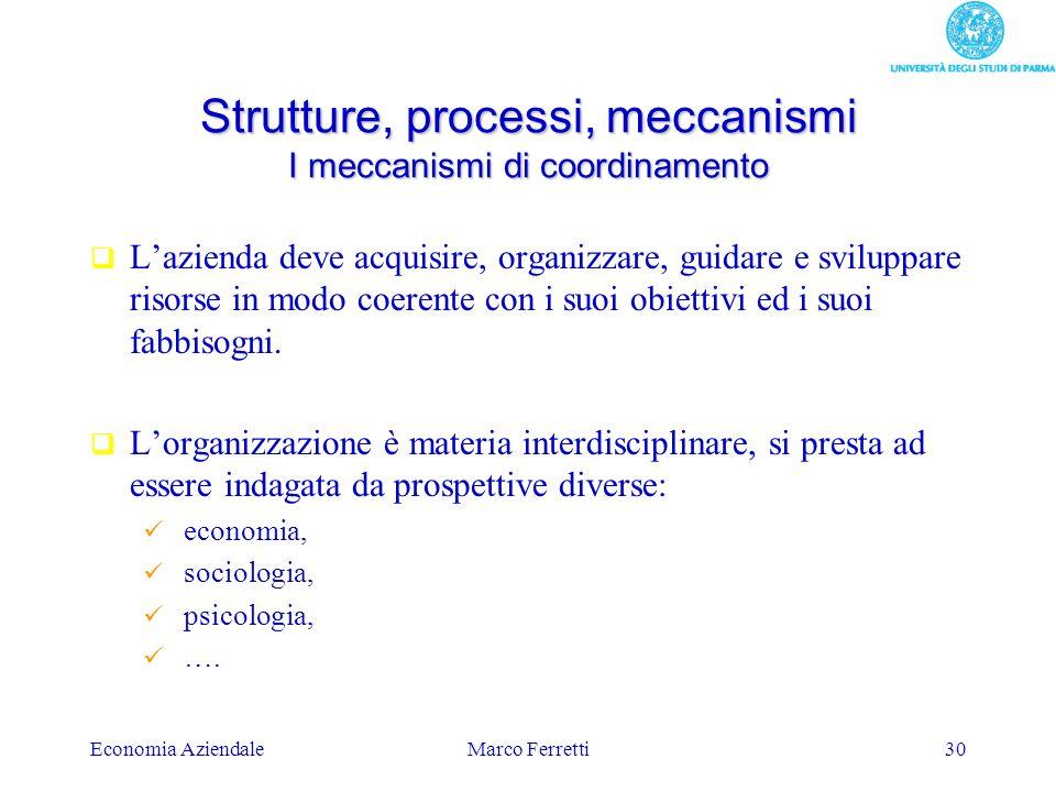 Economia AziendaleMarco Ferretti30 Strutture, processi, meccanismi I meccanismi di coordinamento Lazienda deve acquisire, organizzare, guidare e svilu