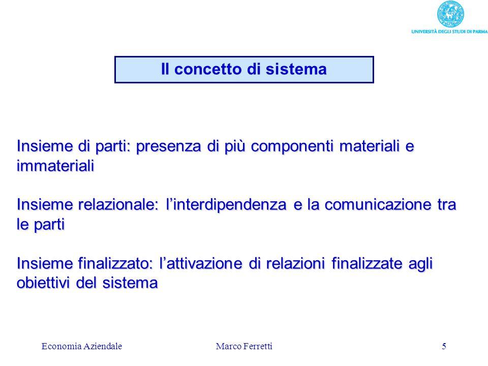 Economia AziendaleMarco Ferretti5 Insieme di parti: presenza di più componenti materiali e immateriali Insieme relazionale: linterdipendenza e la comu