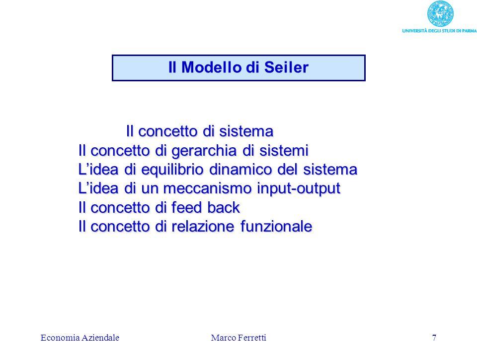 Economia AziendaleMarco Ferretti8 Il comportamento umano in una organizzazione è visto come un sistema complesso in cui tutto dipende da tutto per modo che un cambiamento in una qualsiasi parte produce un cambiamento in tutte le altre semplificazioni….