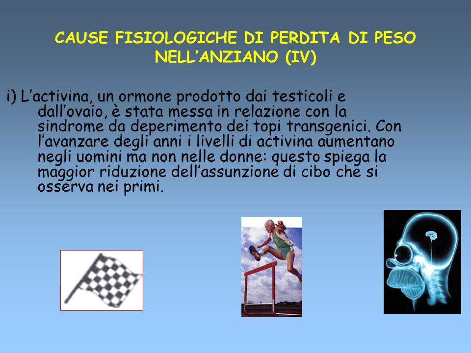 CAUSE FISIOLOGICHE DI PERDITA DI PESO NELLANZIANO (IV) i) Lactivina, un ormone prodotto dai testicoli e dallovaio, è stata messa in relazione con la s