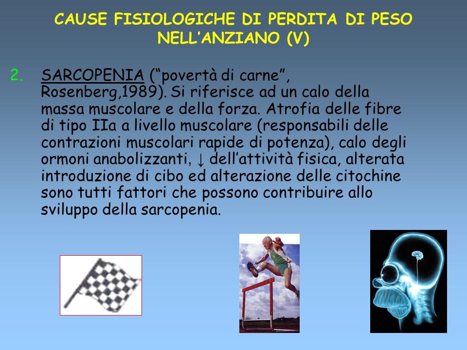 CAUSE FISIOLOGICHE DI PERDITA DI PESO NELLANZIANO (V) 2.SARCOPENIA (povertà di carne, Rosenberg,1989). Si riferisce ad un calo della massa muscolare e