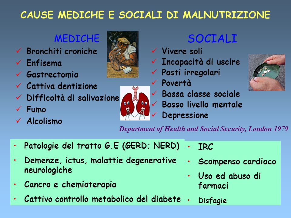 CAUSE MEDICHE E SOCIALI DI MALNUTRIZIONE MEDICHE Bronchiti croniche Enfisema Gastrectomia Cattiva dentizione Difficoltà di salivazione Fumo Alcolismo