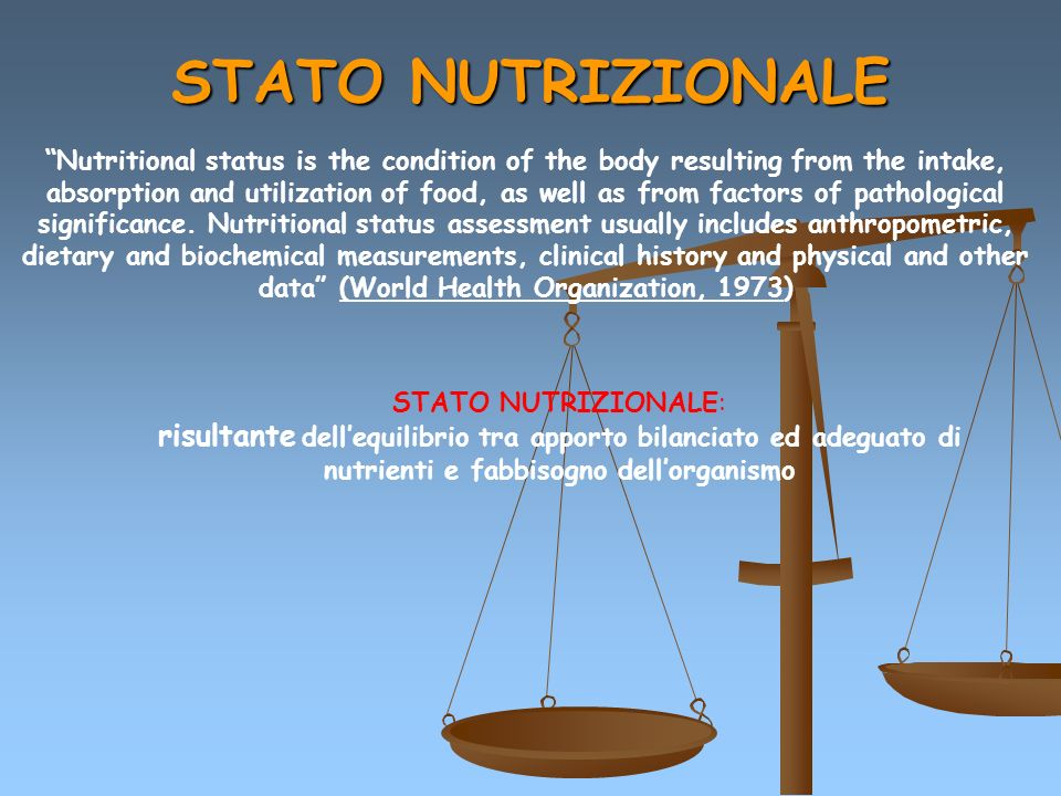 Nutritional status is the condition of the body resulting from the intake, absorption and utilization of food, as well as from factors of pathological