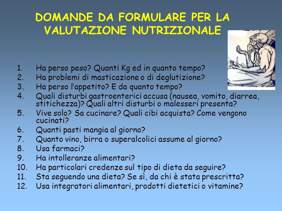 DOMANDE DA FORMULARE PER LA VALUTAZIONE NUTRIZIONALE 1.Ha perso peso? Quanti Kg ed in quanto tempo? 2.Ha problemi di masticazione o di deglutizione? 3