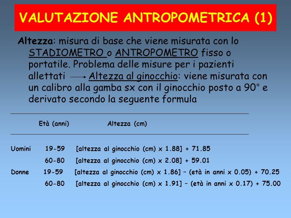 VALUTAZIONE ANTROPOMETRICA (1) Altezza: misura di base che viene misurata con lo STADIOMETRO o ANTROPOMETRO fisso o portatile. Problema delle misure p
