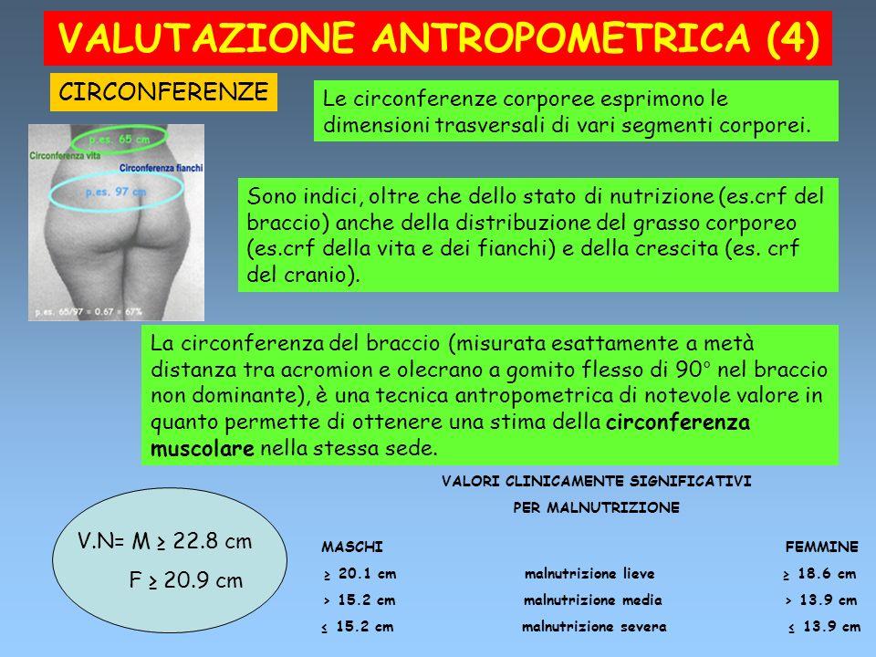 VALUTAZIONE ANTROPOMETRICA (4) CIRCONFERENZE Le circonferenze corporee esprimono le dimensioni trasversali di vari segmenti corporei. Sono indici, olt
