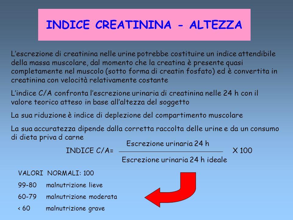 INDICE CREATININA - ALTEZZA Lescrezione di creatinina nelle urine potrebbe costituire un indice attendibile della massa muscolare, dal momento che la