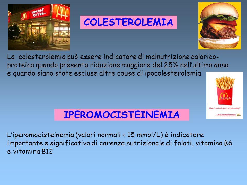 COLESTEROLEMIA La colesterolemia può essere indicatore di malnutrizione calorico- proteica quando presenta riduzione maggiore del 25% nellultimo anno