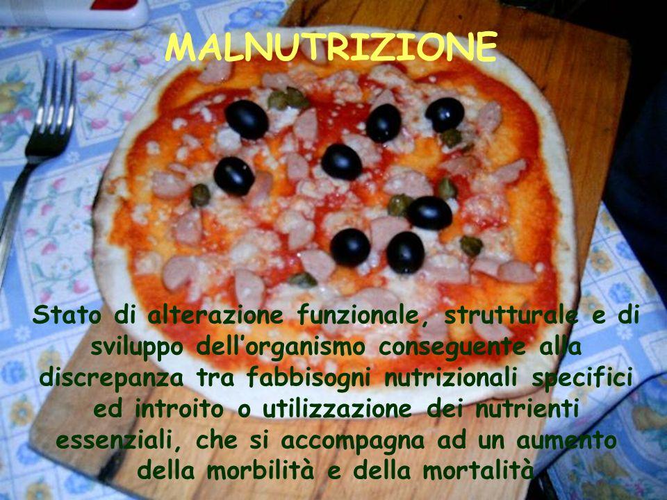MALNUTRIZIONE Stato di alterazione funzionale, strutturale e di sviluppo dellorganismo conseguente alla discrepanza tra fabbisogni nutrizionali specif