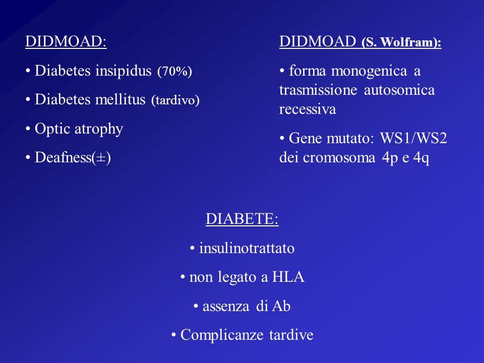 DIDMOAD: Diabetes insipidus (70%) Diabetes mellitus (tardivo) Optic atrophy Deafness(±) DIABETE: insulinotrattato non legato a HLA assenza di Ab Complicanze tardive DIDMOAD (S.