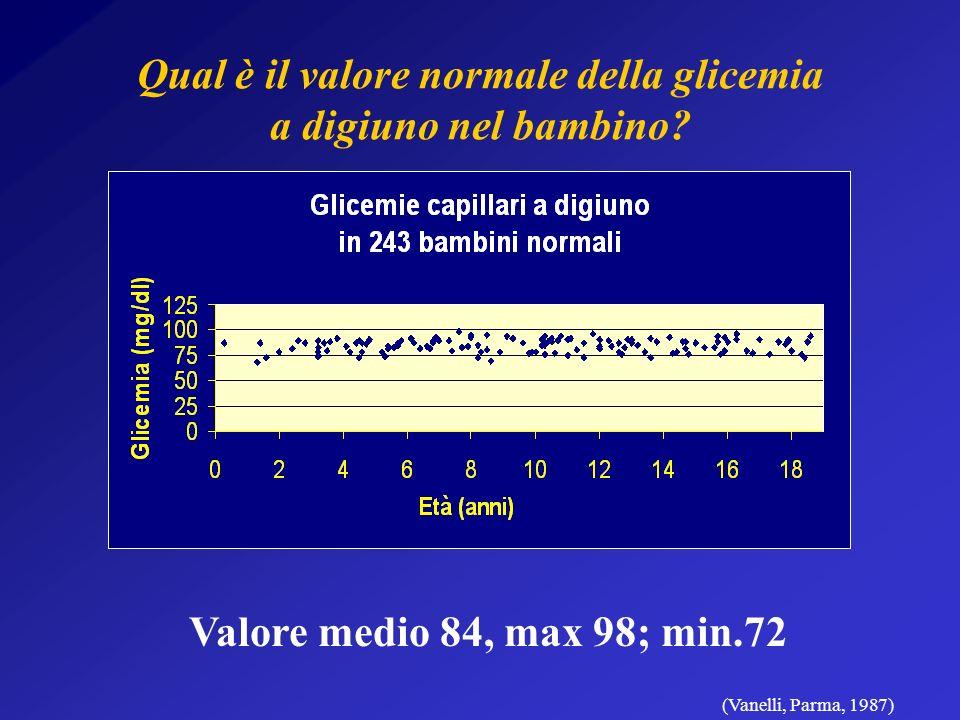 Qual è il valore normale della glicemia a digiuno nel bambino.
