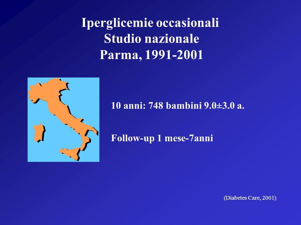 Iperglicemie occasionali Studio nazionale Parma, 1991-2001 10 anni: 748 bambini 9.0±3.0 a.