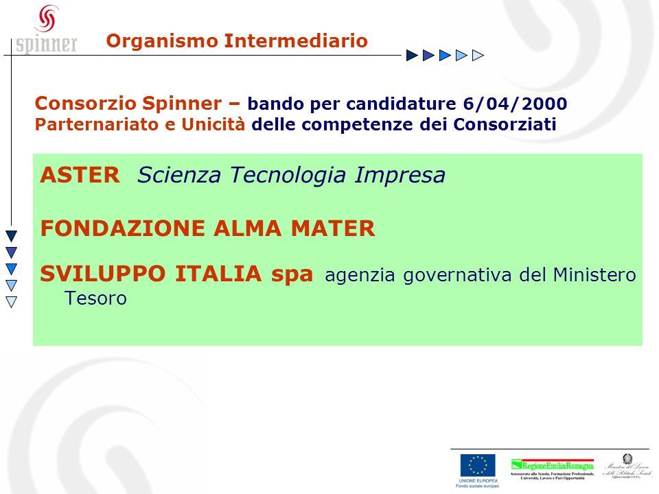 Organismo Intermediario ASTER Scienza Tecnologia Impresa FONDAZIONE ALMA MATER SVILUPPO ITALIA spa agenzia governativa del Ministero Tesoro Consorzio