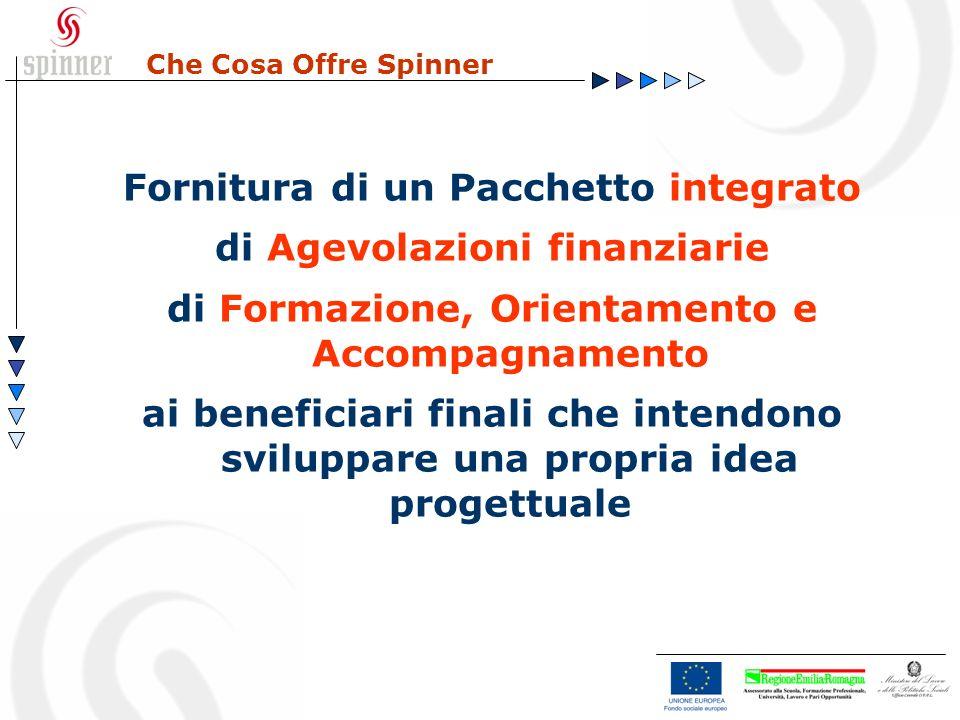 Che Cosa Offre Spinner Fornitura di un Pacchetto integrato di Agevolazioni finanziarie di Formazione, Orientamento e Accompagnamento ai beneficiari fi