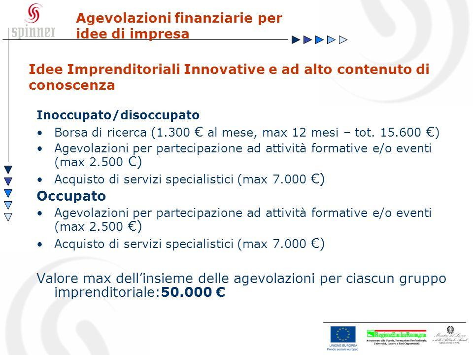 Idee Imprenditoriali Innovative e ad alto contenuto di conoscenza Agevolazioni finanziarie per idee di impresa Inoccupato/disoccupato Borsa di ricerca