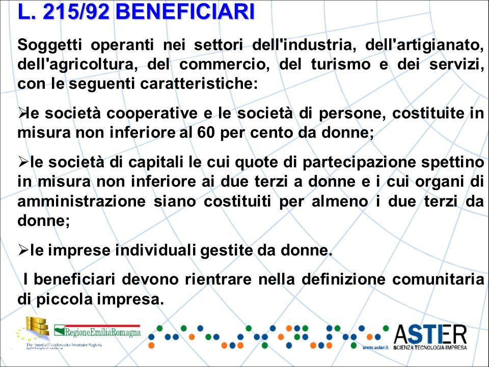 L. 215/92 BENEFICIARI Soggetti operanti nei settori dell'industria, dell'artigianato, dell'agricoltura, del commercio, del turismo e dei servizi, con