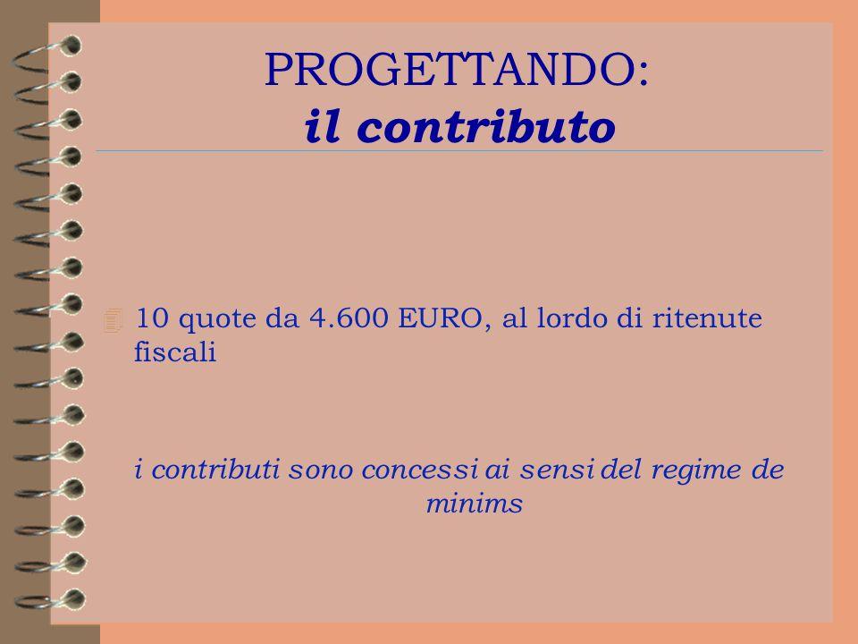 PROGETTANDO: il contributo 4 10 quote da 4.600 EURO, al lordo di ritenute fiscali i contributi sono concessi ai sensi del regime de minims