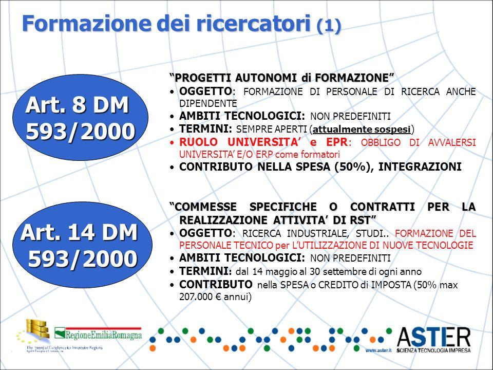 Formazione dei ricercatori (1) Art. 8 DM 593/2000 Art.