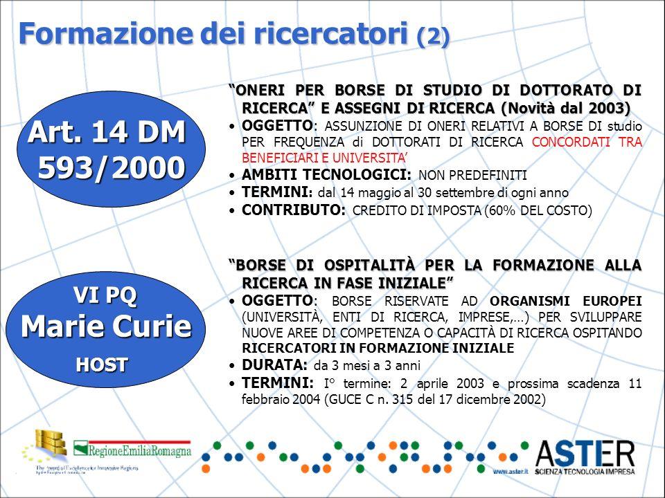 Formazione dei ricercatori (2) Art.