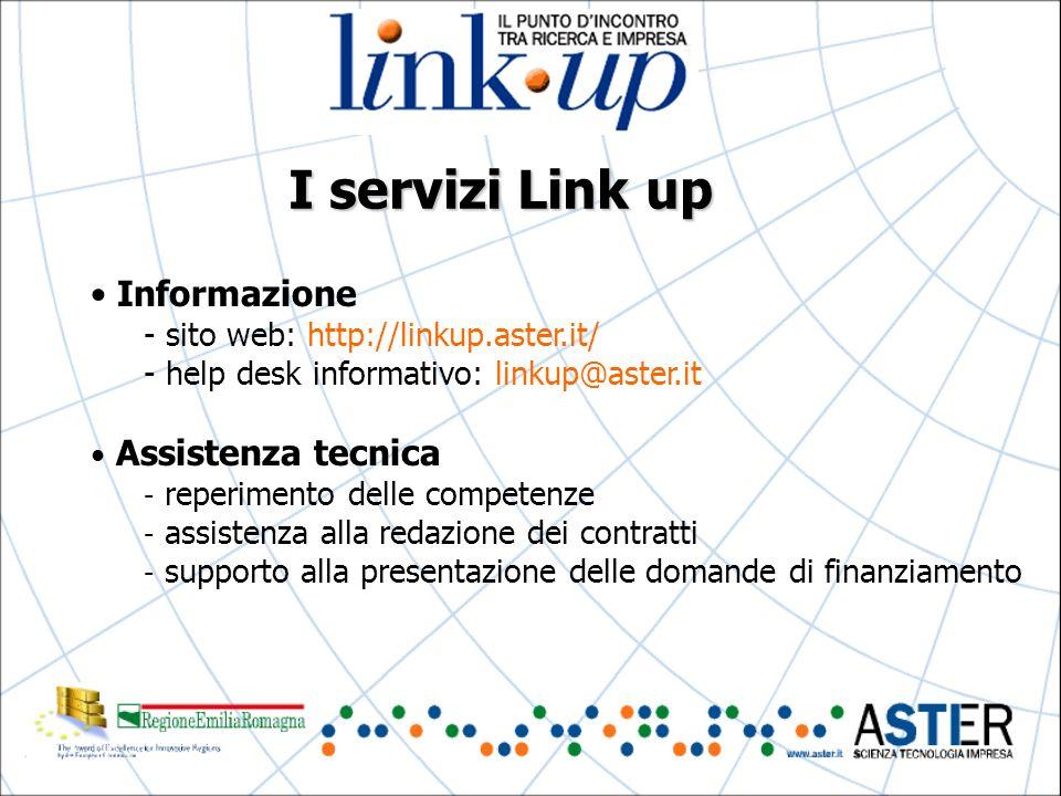 I servizi Link up Informazione - sito web: http://linkup.aster.it/ - help desk informativo: linkup@aster.it Assistenza tecnica - reperimento delle competenze - assistenza alla redazione dei contratti - supporto alla presentazione delle domande di finanziamento