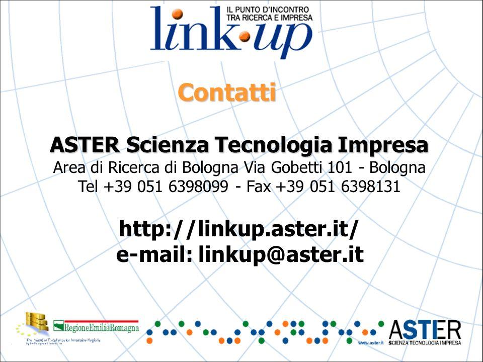 Contatti ASTER Scienza Tecnologia Impresa Area di Ricerca di Bologna Via Gobetti 101 - Bologna Tel +39 051 6398099 - Fax +39 051 6398131 http://linkup.aster.it/ e-mail: linkup@aster.it