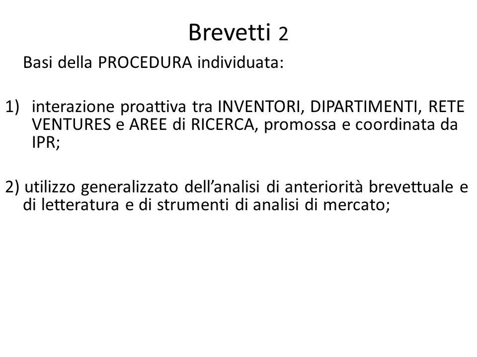 Brevetti 2 Basi della PROCEDURA individuata: 1)interazione proattiva tra INVENTORI, DIPARTIMENTI, RETE VENTURES e AREE di RICERCA, promossa e coordina