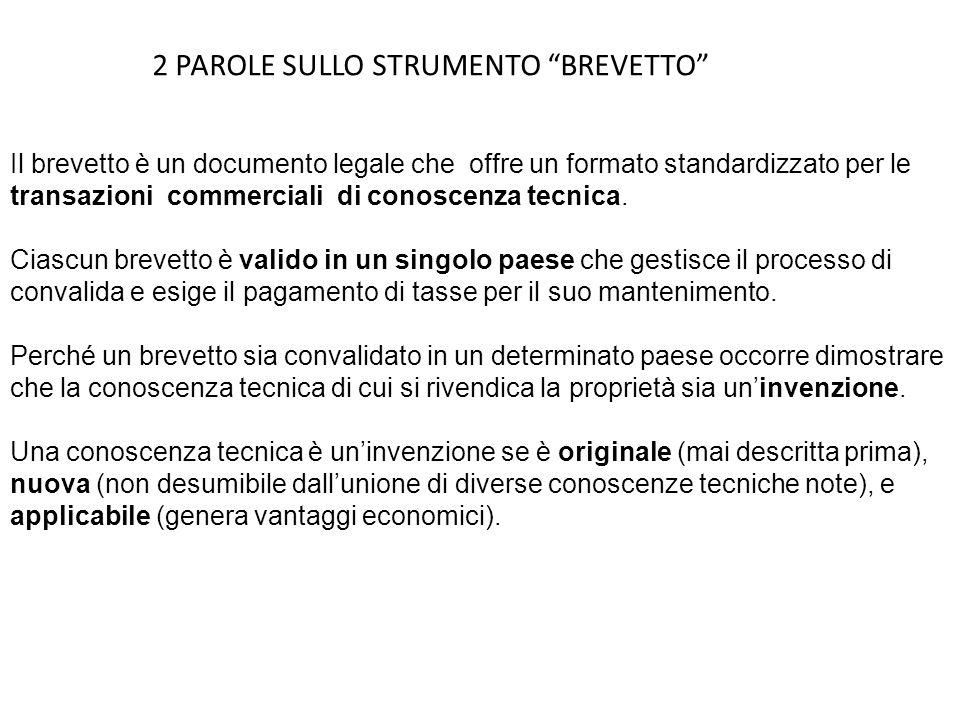 2 PAROLE SULLO STRUMENTO BREVETTO Il brevetto è un documento legale che offre un formato standardizzato per le transazioni commerciali di conoscenza t