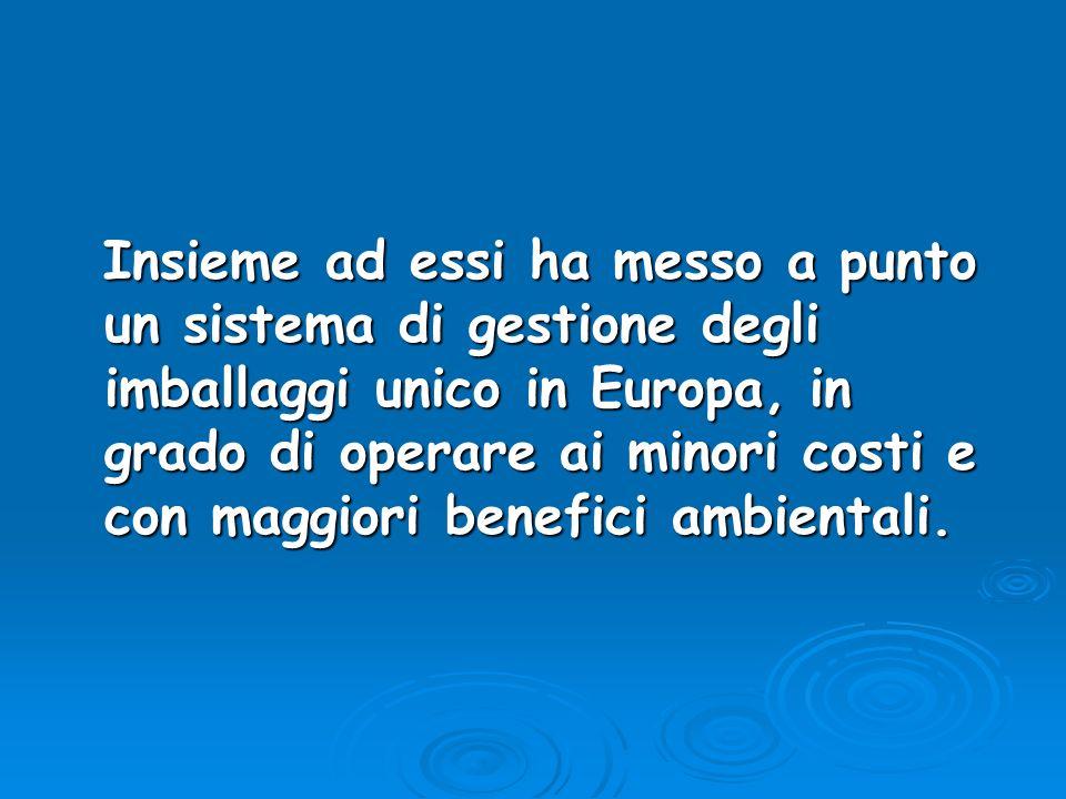 Insieme ad essi ha messo a punto un sistema di gestione degli imballaggi unico in Europa, in grado di operare ai minori costi e con maggiori benefici ambientali.