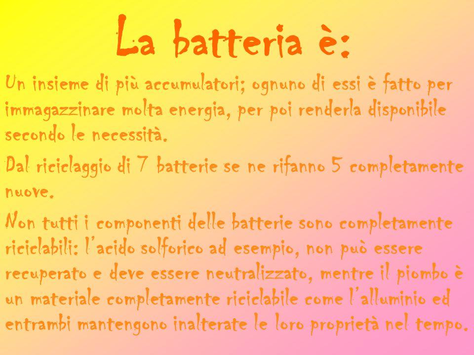 La batteria è: Un insieme di più accumulatori; ognuno di essi è fatto per immagazzinare molta energia, per poi renderla disponibile secondo le necessità.
