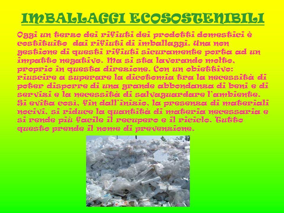 IMBALLAGGI ECOSOSTENIBILI Oggi un terzo dei rifiuti dei prodotti domestici è costituito dai rifiuti di imballaggi.