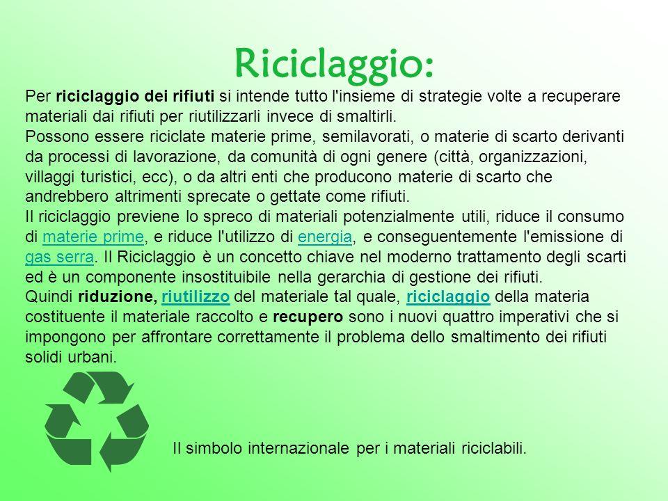 Riciclaggio: Per riciclaggio dei rifiuti si intende tutto l'insieme di strategie volte a recuperare materiali dai rifiuti per riutilizzarli invece di