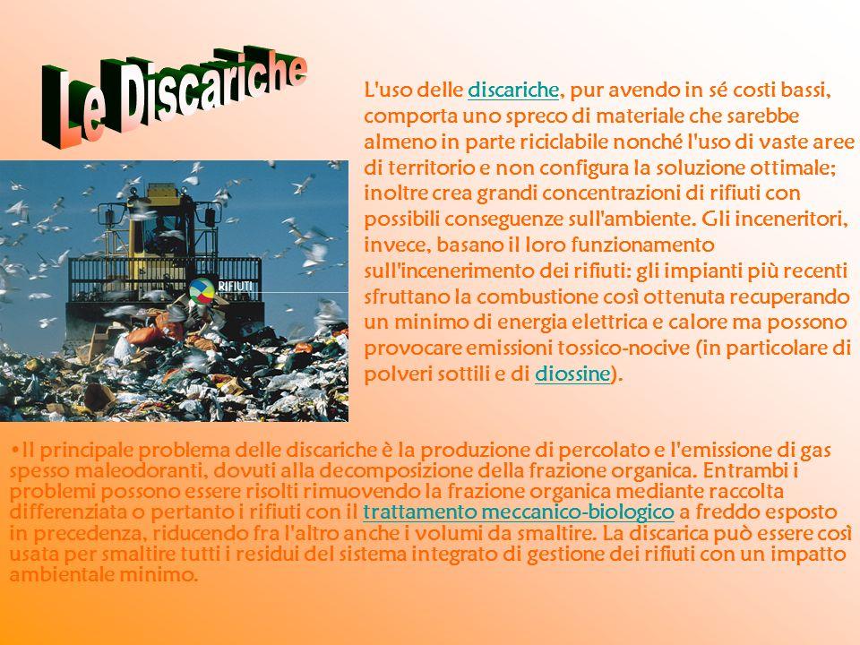L'uso delle discariche, pur avendo in sé costi bassi, comporta uno spreco di materiale che sarebbe almeno in parte riciclabile nonché l'uso di vaste a