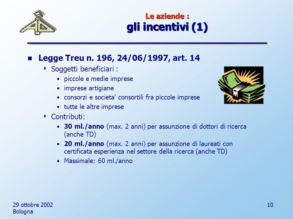 29 ottobre 2002 Bologna 10 Le aziende : gli incentivi (1) Legge Treu n.