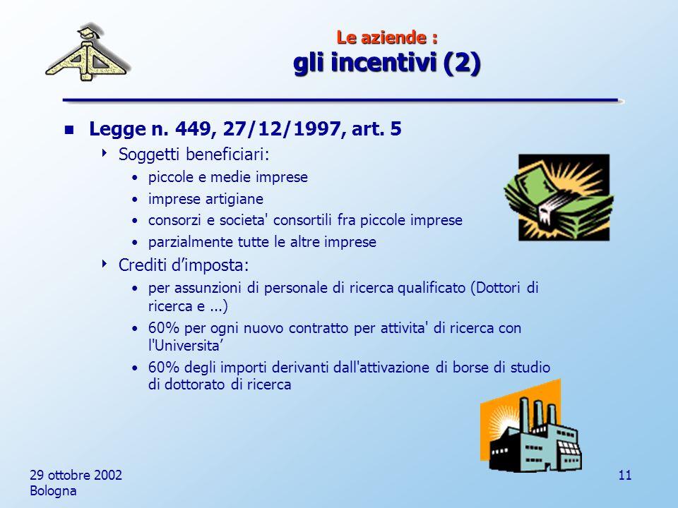 29 ottobre 2002 Bologna 11 Le aziende : gli incentivi (2) Legge n.
