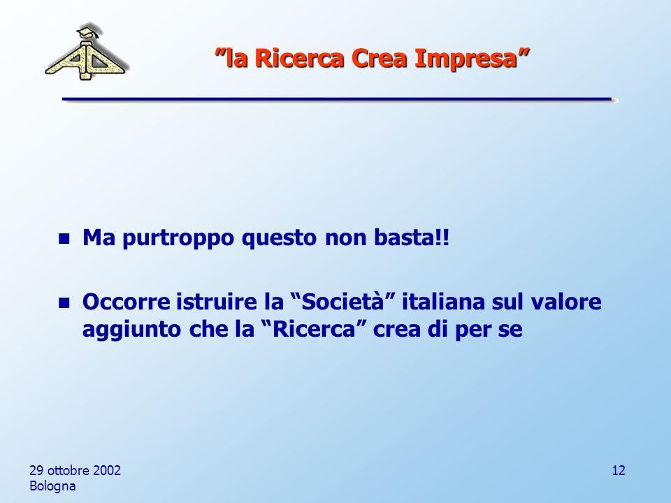 29 ottobre 2002 Bologna 12 Ma purtroppo questo non basta!.
