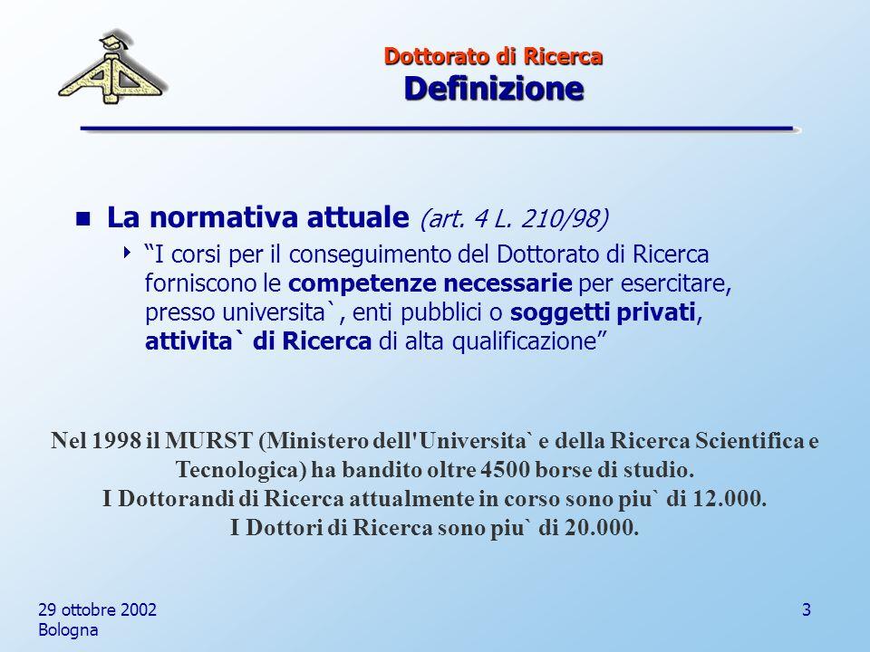 29 ottobre 2002 Bologna 3 Dottorato di Ricerca Definizione La normativa attuale (art.