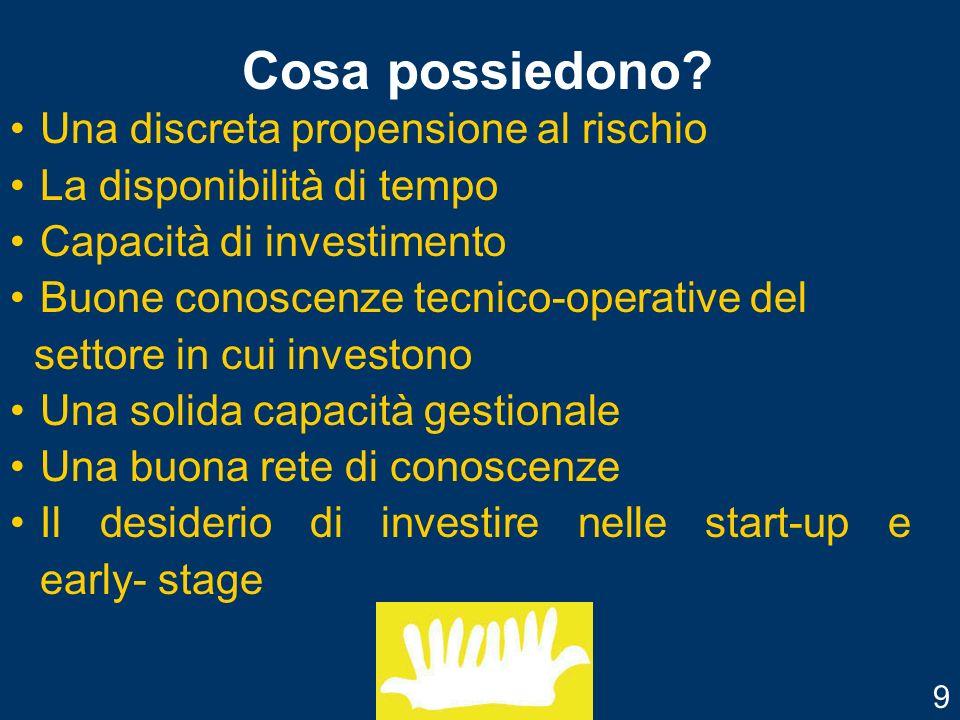 Obiettivi per il business angel Possibilità di rendimenti più alti Reinserimento nel mondo imprenditoriale di risorse esperte Mentoring 10