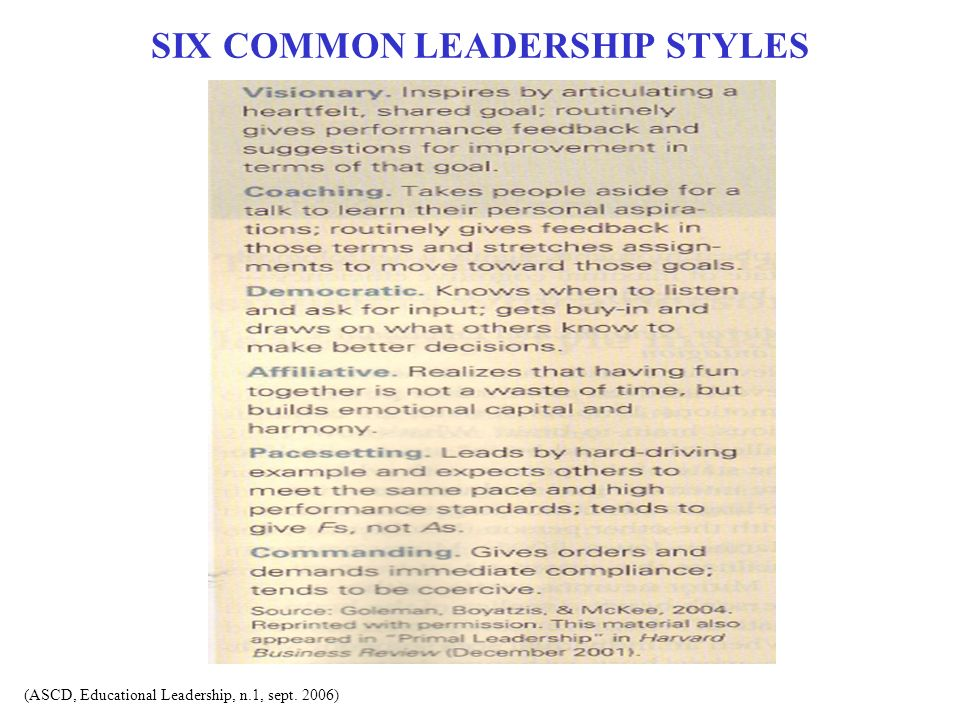 SIX COMMON LEADERSHIP STYLES (ASCD, Educational Leadership, n.1, sept. 2006)