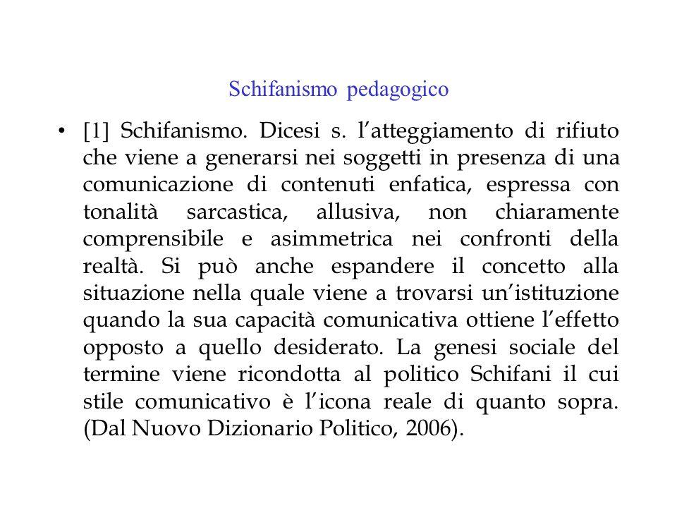 Schifanismo pedagogico [1] Schifanismo. Dicesi s.