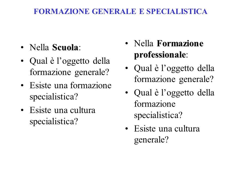 FORMAZIONE GENERALE E SPECIALISTICA ScuolaNella Scuola: Qual è loggetto della formazione generale.