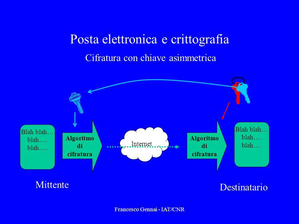 Francesco Gennai - IAT/CNR Posta elettronica e crittografia Blah blah… blah….