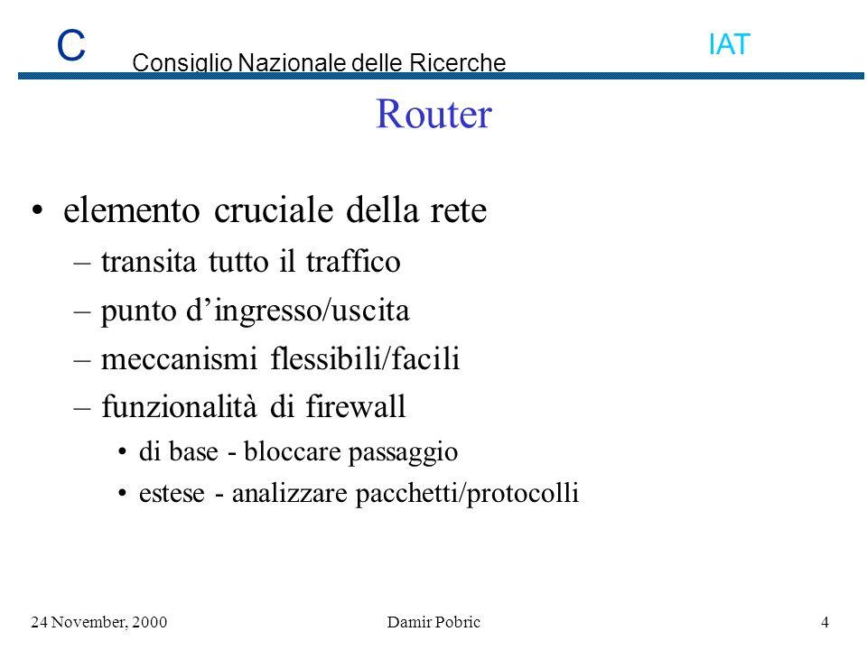 C Consiglio Nazionale delle Ricerche IAT 3524 November, 2000Damir Pobric Flooding e DOS (Denial Of Service) Alto volume di pacchetti/numero di connessioni Bloccare sorgente SYN flood TCP intercept rate-limit Proteggere il router scheduler interval/allocate