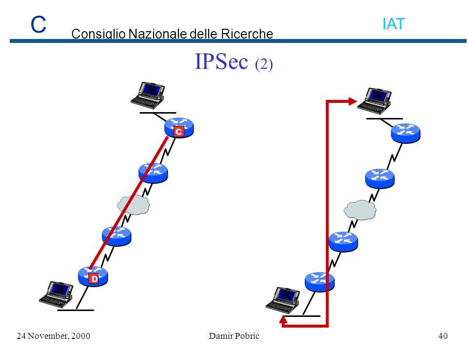 C Consiglio Nazionale delle Ricerche IAT 4024 November, 2000Damir Pobric IPSec (2) C D