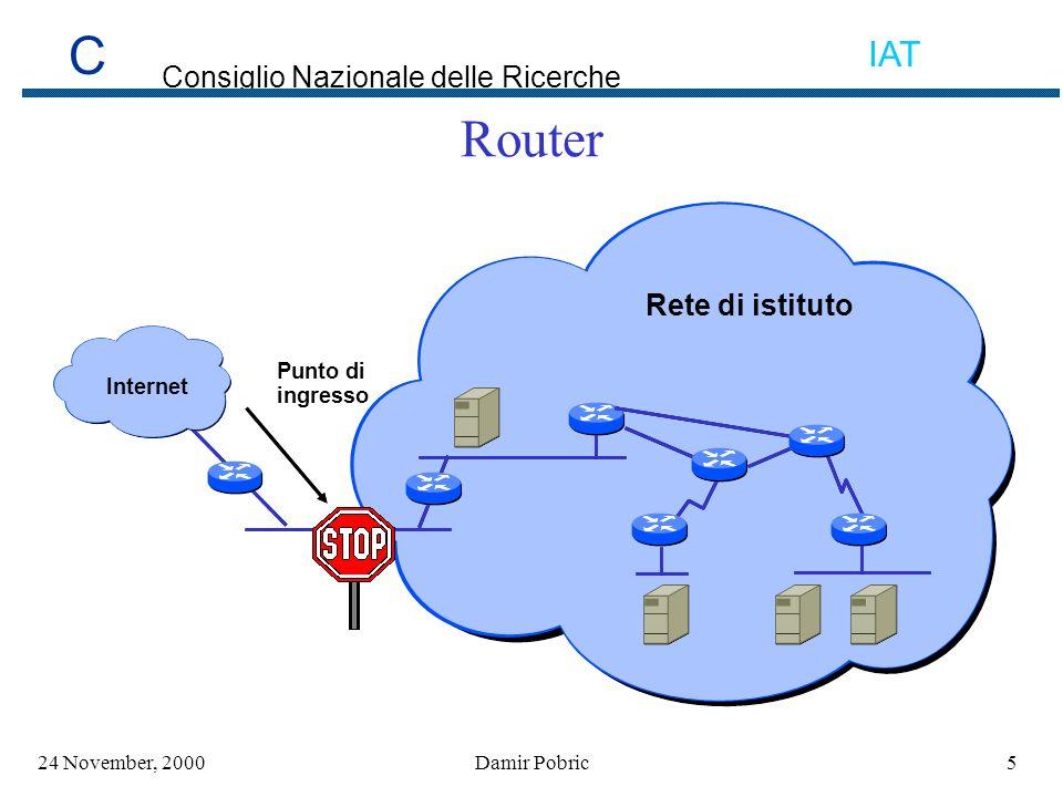 C Consiglio Nazionale delle Ricerche IAT 3624 November, 2000Damir Pobric Indirizzi IP privati (1) Rete Route Filtering WWWFTP, DNS Mail Internet PROXY NAT/PAT