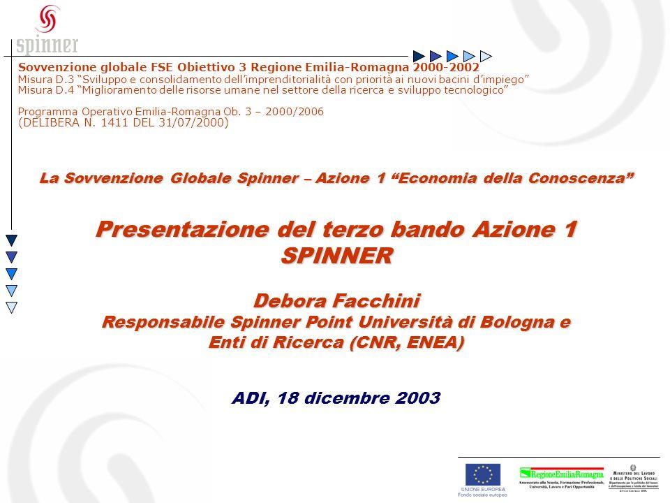La Sovvenzione Globale Spinner – Azione 1 Economia della Conoscenza Presentazione del terzo bando Azione 1 SPINNER Debora Facchini Responsabile Spinner Point Università di Bologna e Enti di Ricerca (CNR, ENEA) ADI, 18 dicembre 2003 Sovvenzione globale FSE Obiettivo 3 Regione Emilia-Romagna 2000-2002 Misura D.3 Sviluppo e consolidamento dellimprenditorialità con priorità ai nuovi bacini dimpiego Misura D.4 Miglioramento delle risorse umane nel settore della ricerca e sviluppo tecnologico Programma Operativo Emilia-Romagna Ob.