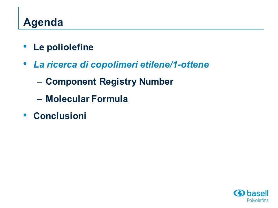 Agenda Le poliolefine La ricerca di copolimeri etilene/1-ottene –Component Registry Number –Molecular Formula Conclusioni