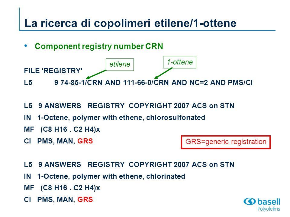 L6 7 L5 NOT GRS/CI FILE CAPLUS => s l6/rn(L)prep/rl 6119 L6 264 L6/D 5921 L6/RN (L6 (NOTL) L6/D ) 4497860 PREP/RL L7 1012 L6/RN(L)PREP/RL La ricerca di copolimeri etilene/1-ottene