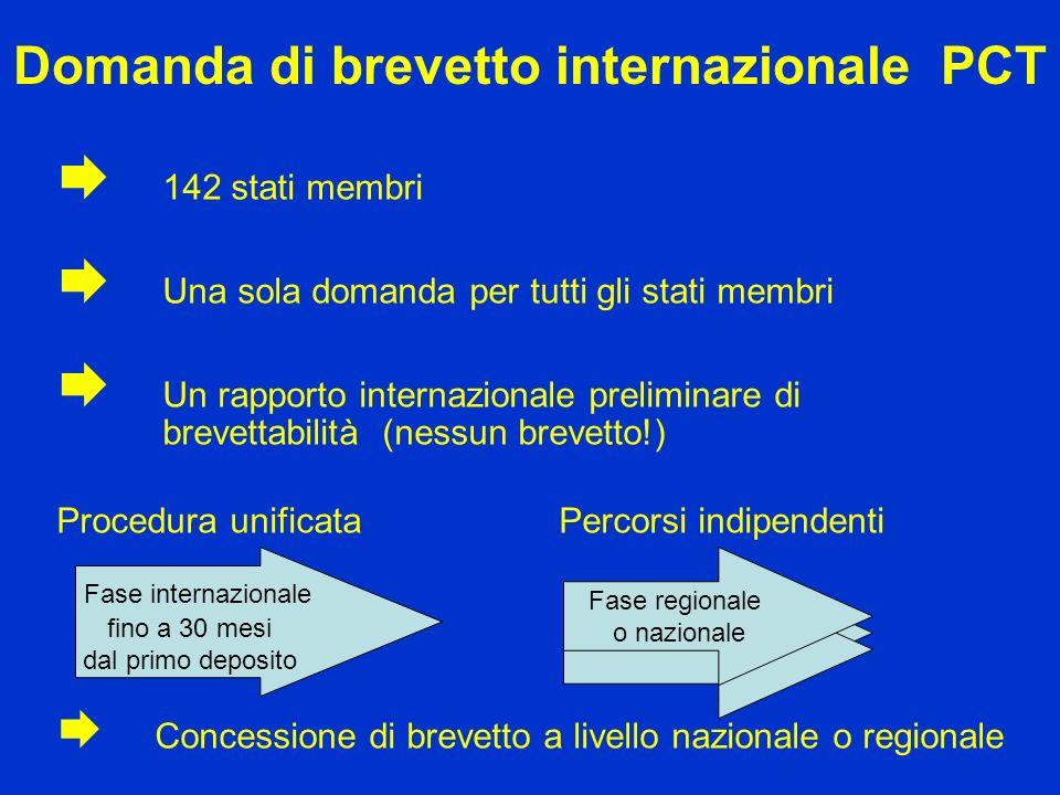 Domanda di brevetto internazionale PCT 142 stati membri Una sola domanda per tutti gli stati membri Un rapporto internazionale preliminare di brevetta