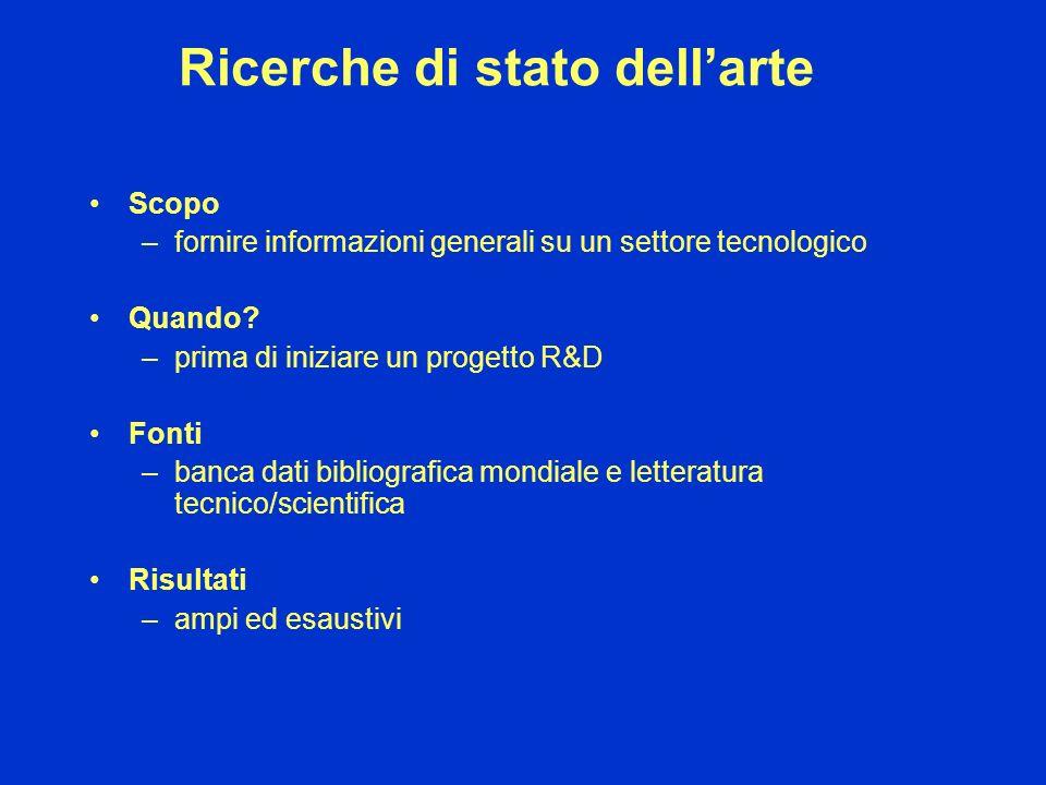 Ricerche di stato dellarte Scopo –fornire informazioni generali su un settore tecnologico Quando? –prima di iniziare un progetto R&D Fonti –banca dati